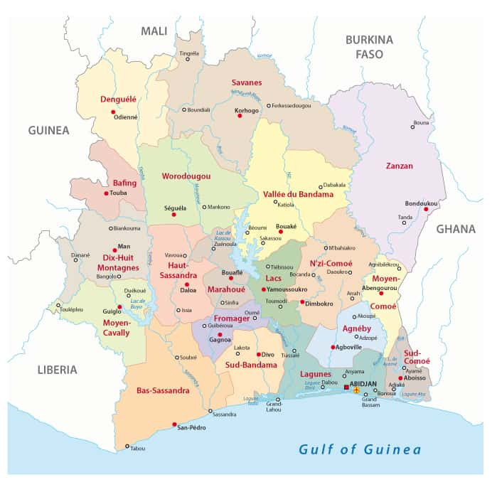 Ivory Coast Regions Outline Map