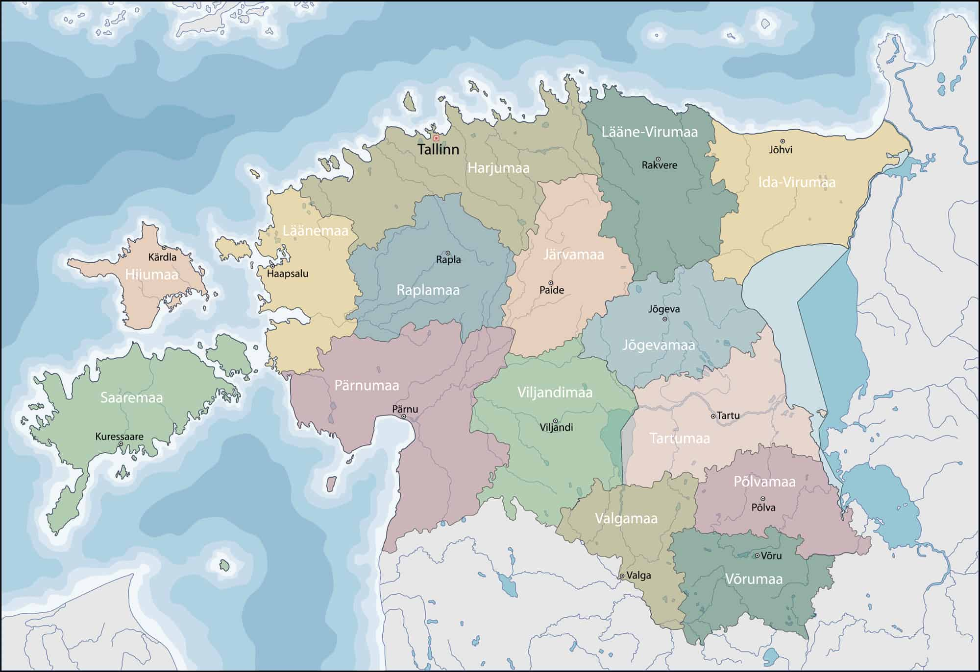 Estonia Political Map with Regions and Main Cities