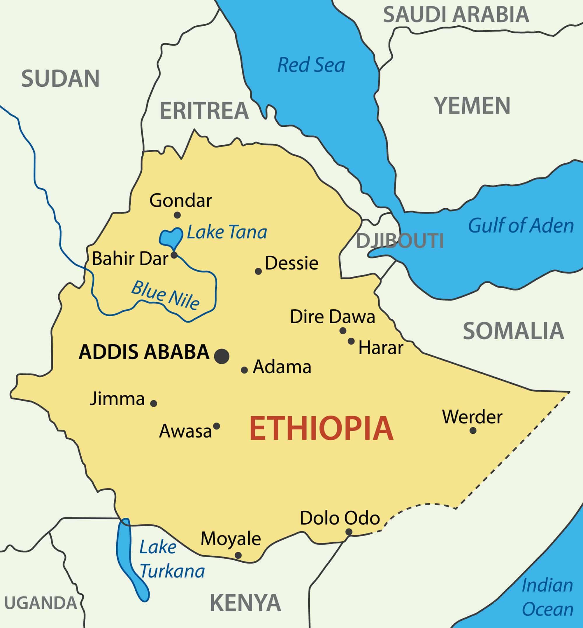 Ethiopia Cities Map
