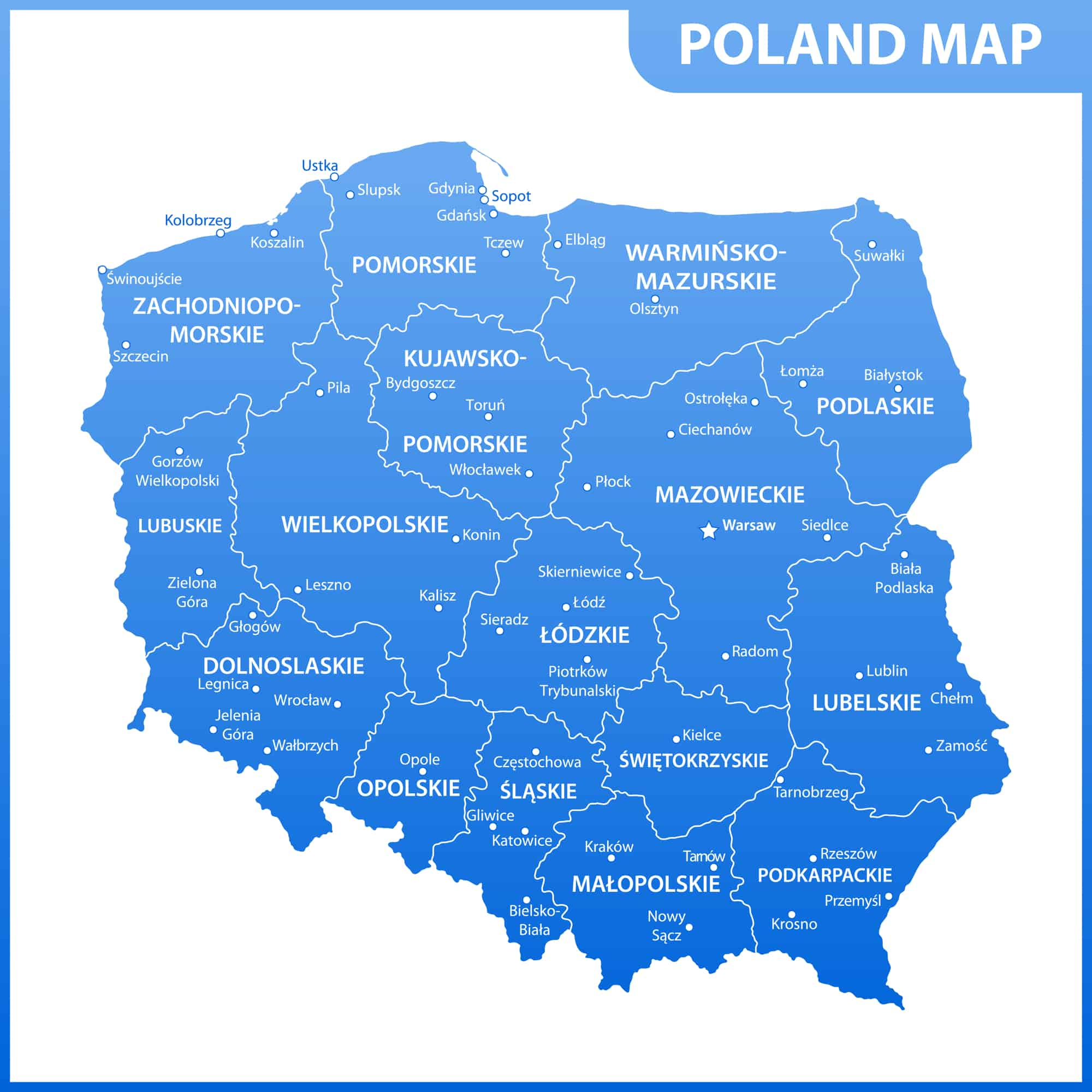 Poland Political Map with Cities and Regions