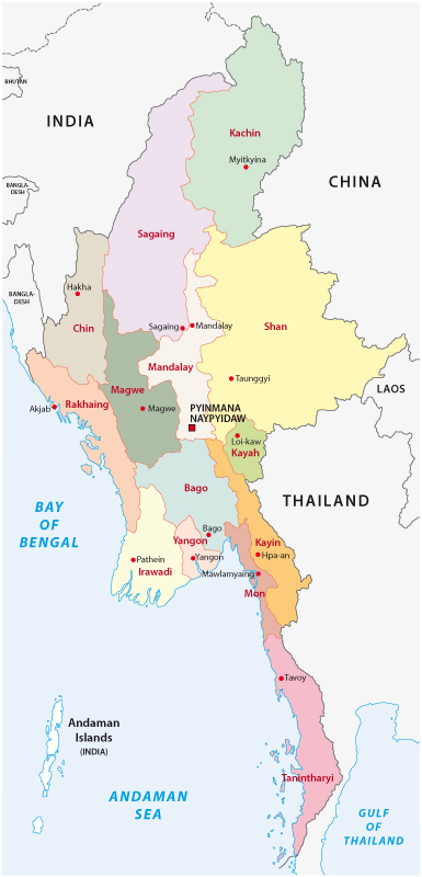 Myanmar Regions Map 1