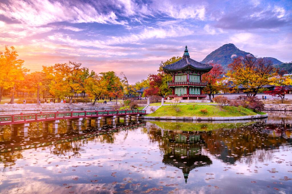 Sunset Water Pavilion in Gyeongbokgung Palace Land