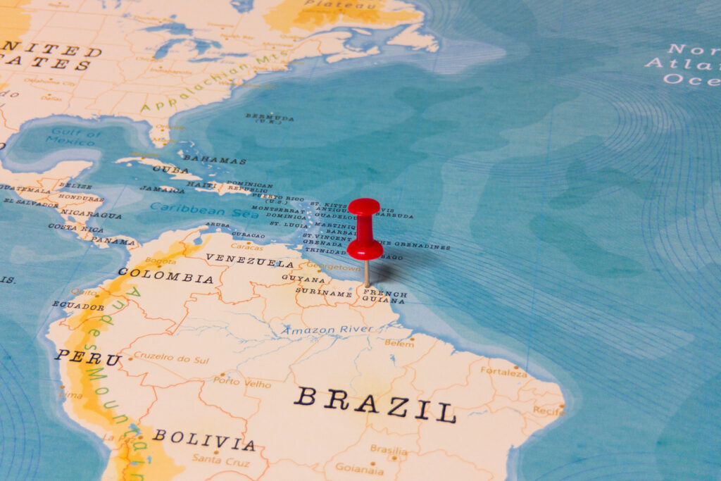 French Guiana is located in the northern region of South America