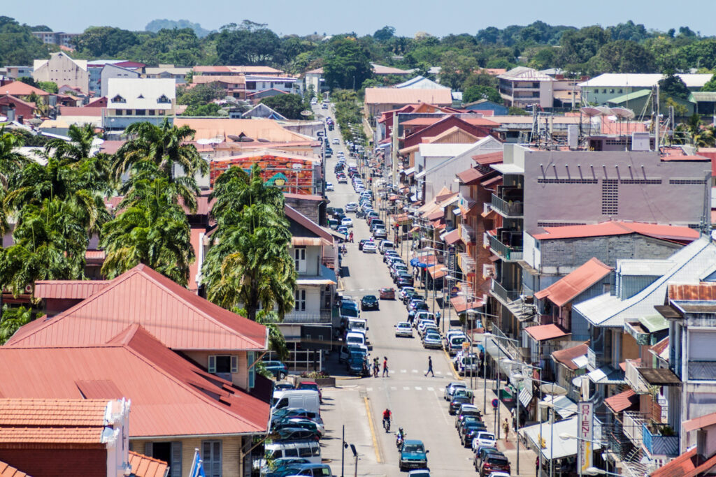 Bustling streets of Cayenne - the capital of French Guiana