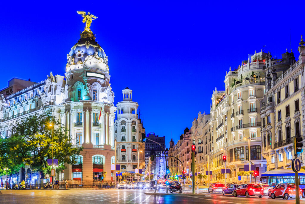 Lively shopping area in Madrid