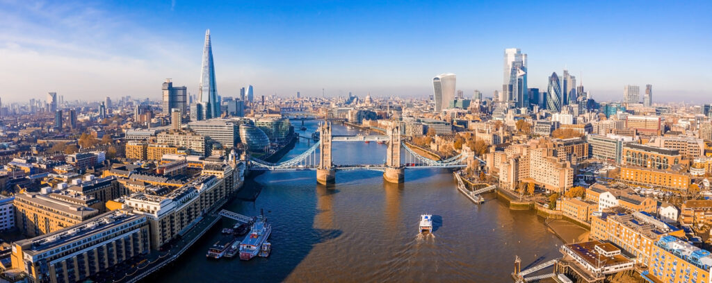 Epic skyline of London including the Tower Bridge
