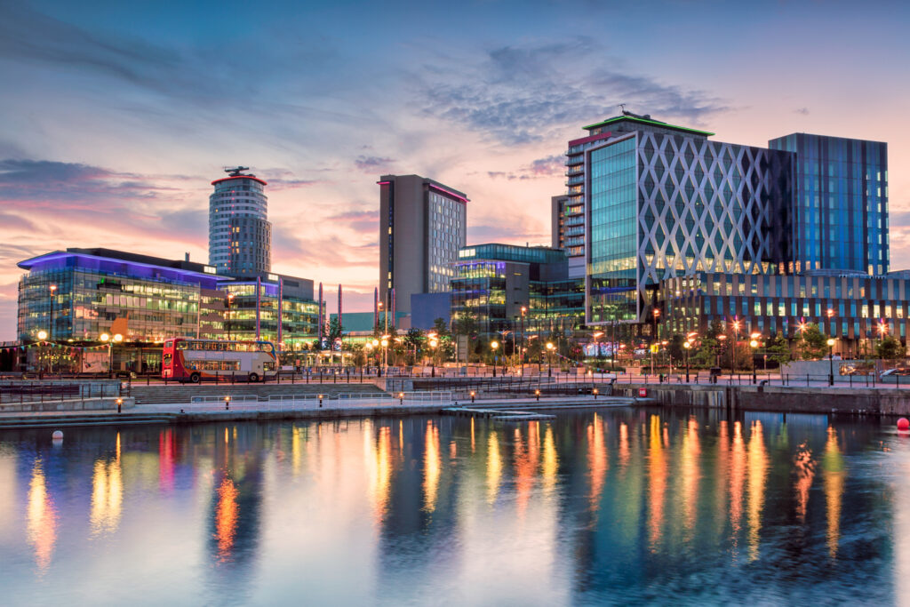 Popular developed area of Salford Quays in Manchester