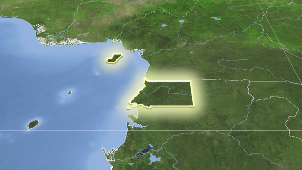 Equatorial Guinea and its neighborhood. Distant oblique perspective - shape glowed. satellite imagery