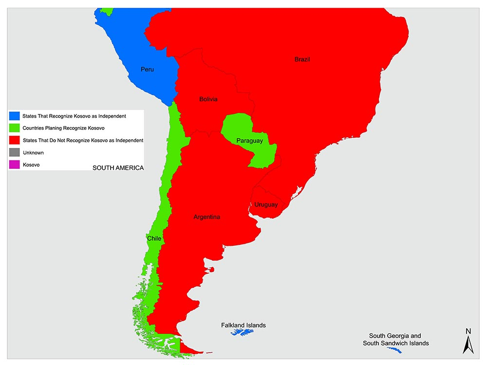 Countries in South America that recognize Kosovo as an independent state