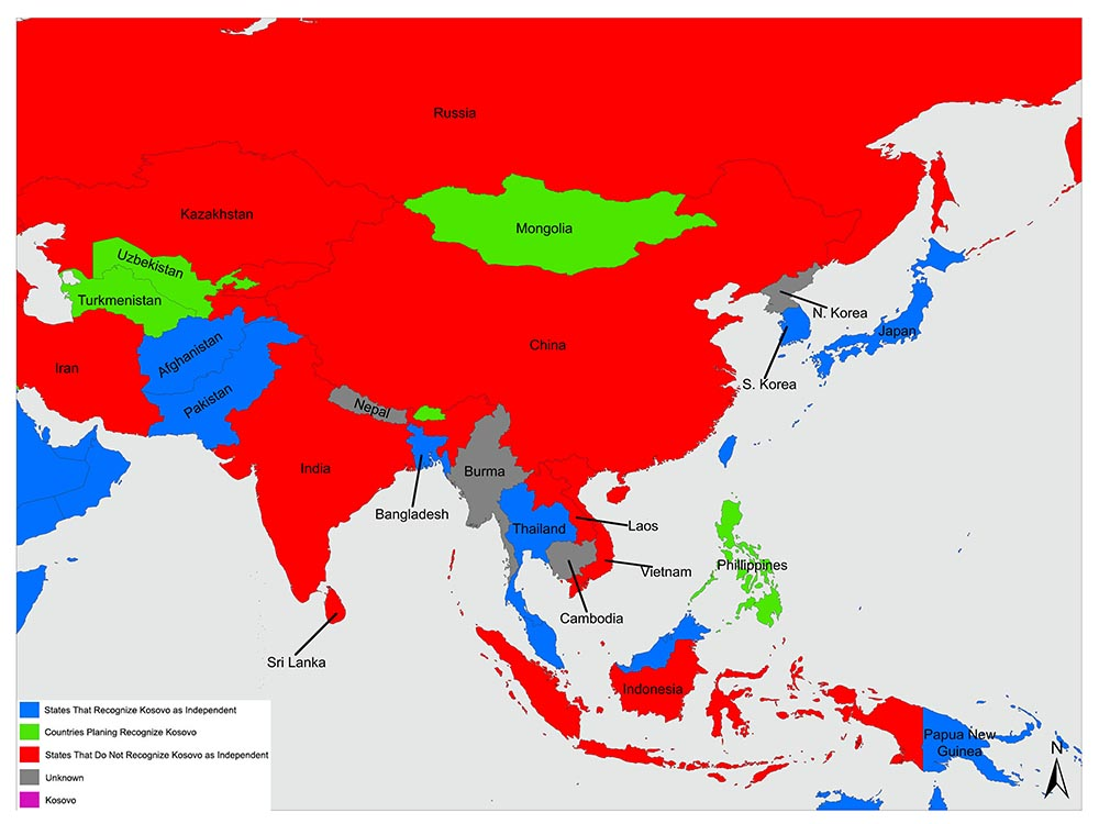 Countries in Asia that recognize Kosovo as an independent state