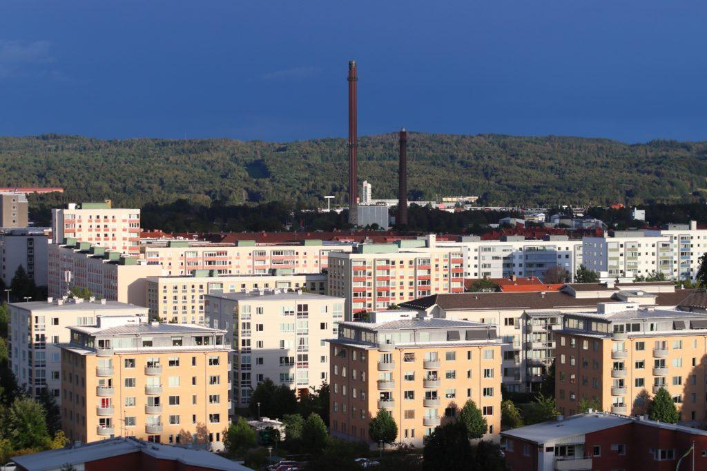 Jonkoping town skyline with modern residential architecture in Sweden. Jonkoping, Sweden.