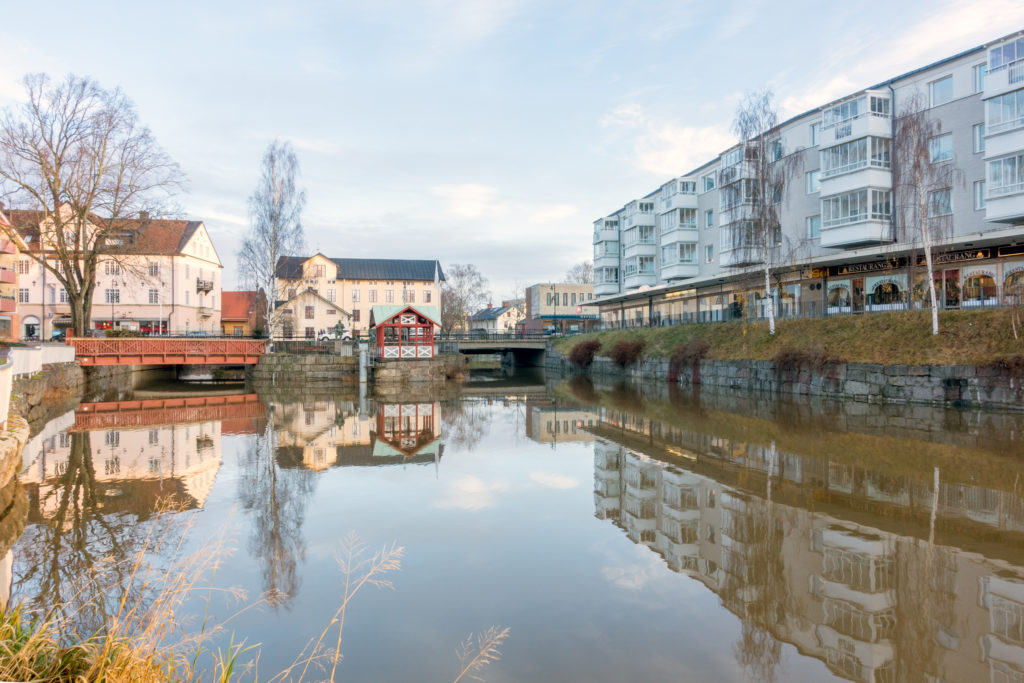 Mjolby town center by the river kalled svartan