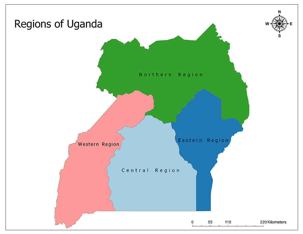 Uganda Map and Regions 1