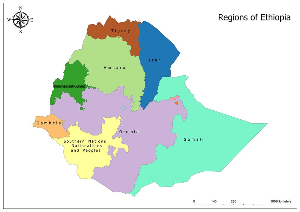 Ethiopia Political Map and Regions 1