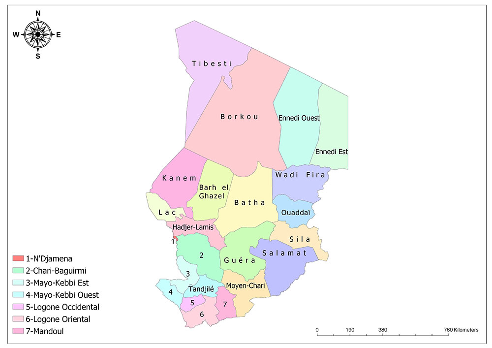 Regions of Chad Map