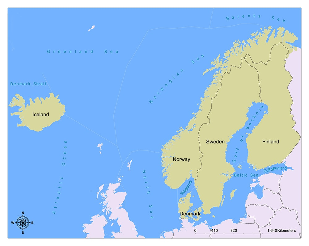 Nordic Countries/Map and Facts 1
