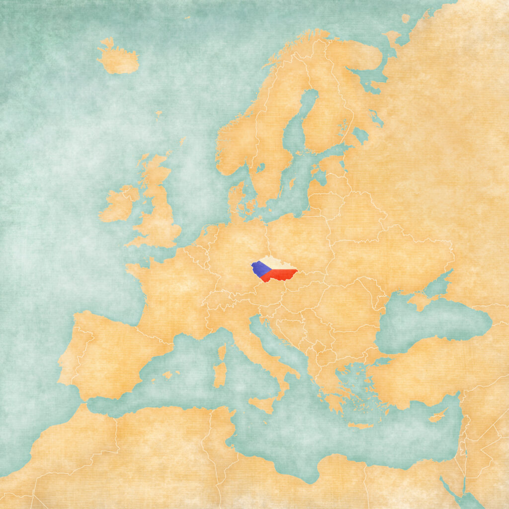Map of Europe - Czech Republic (Vintage Series)