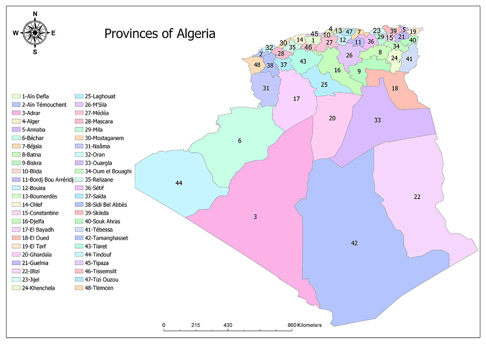 Provinces of Algeria Map