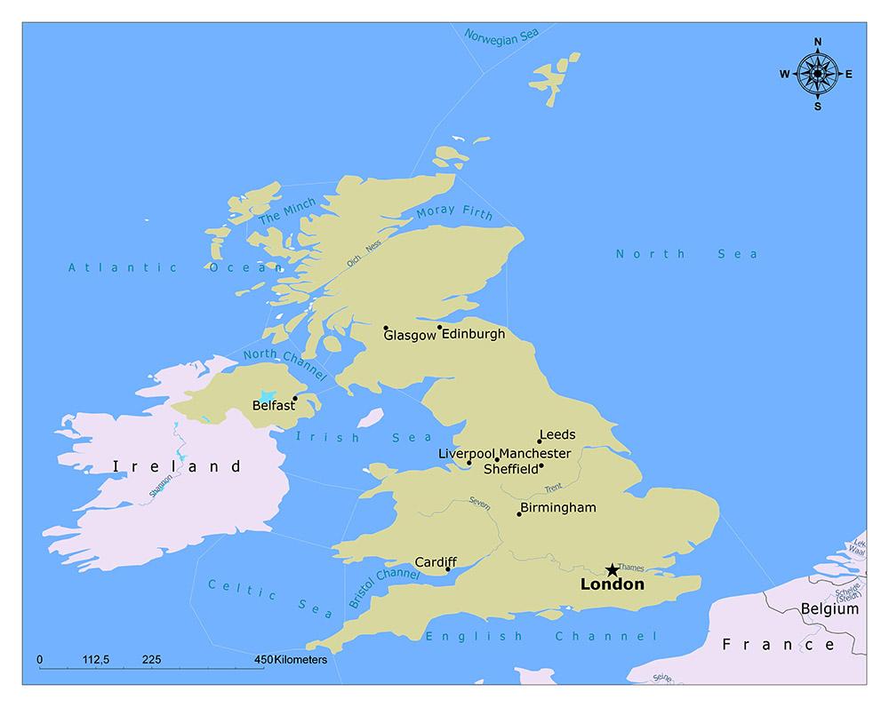united kindom map showing london