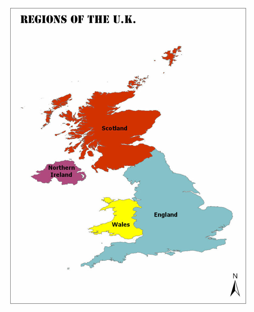 United Kingdom Political Map: Countries and Counties of the United Kingdom 1