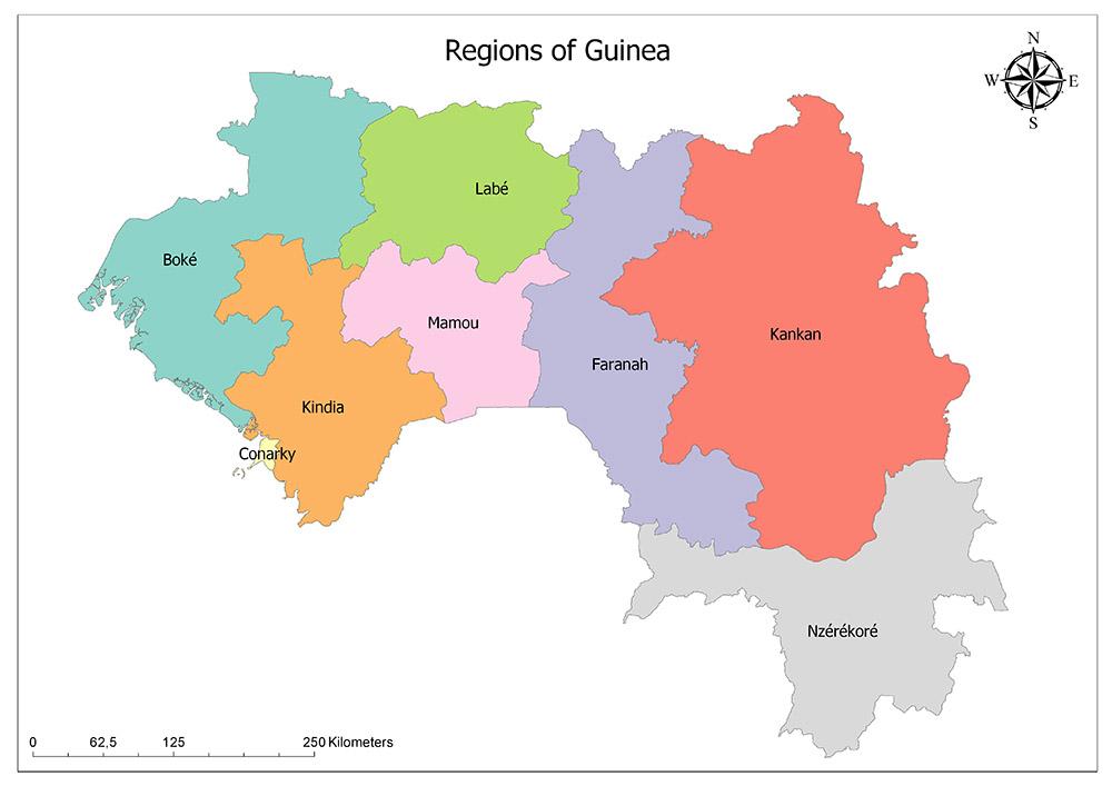 Regions of Guinea Map