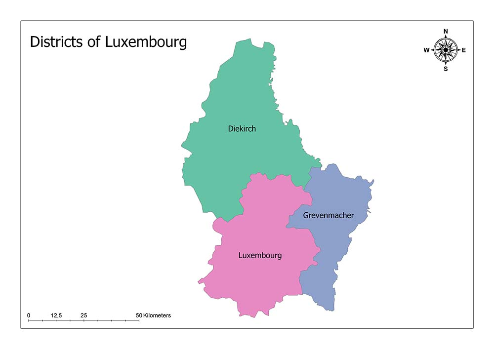 Districts of Luxembourg Map