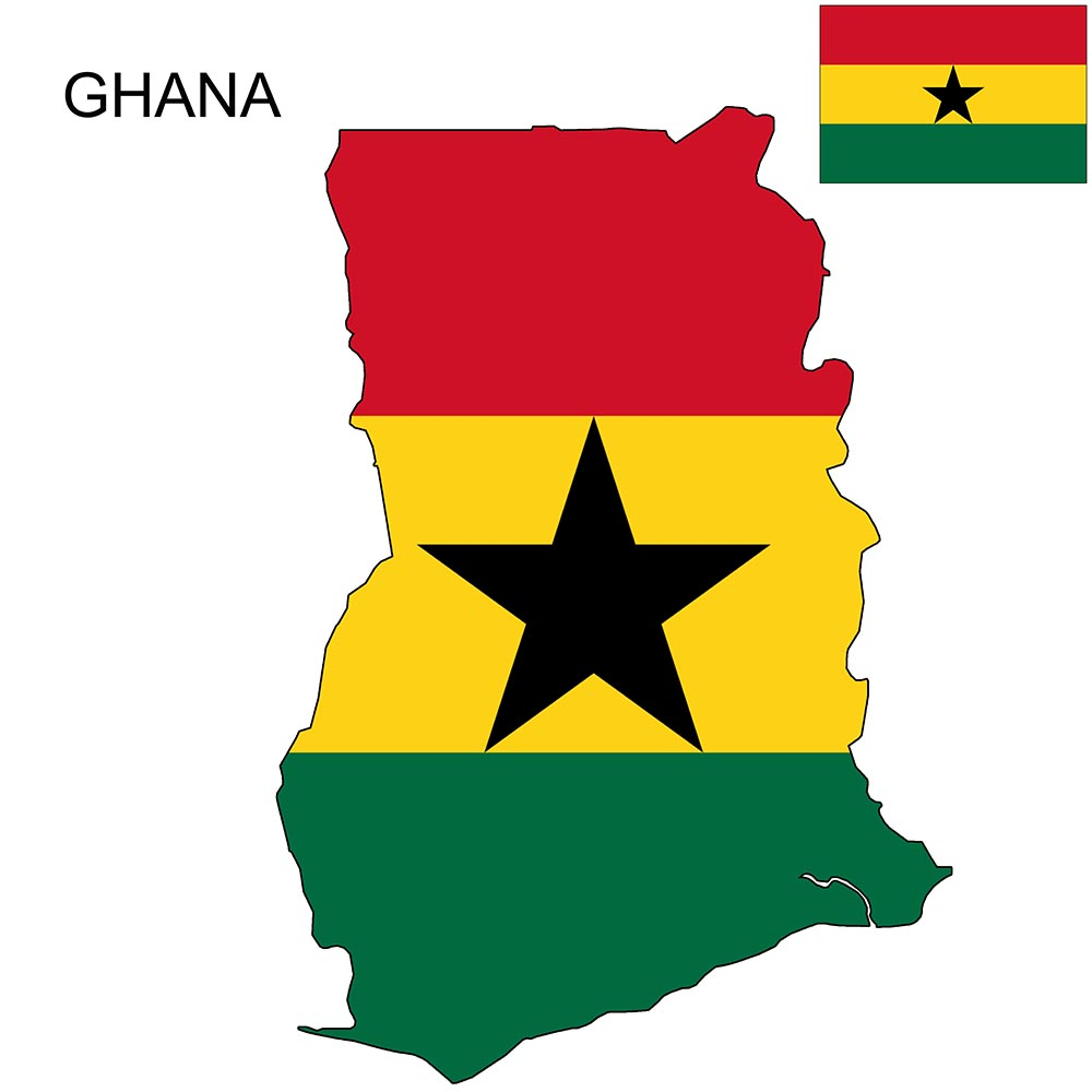 ghana flag map