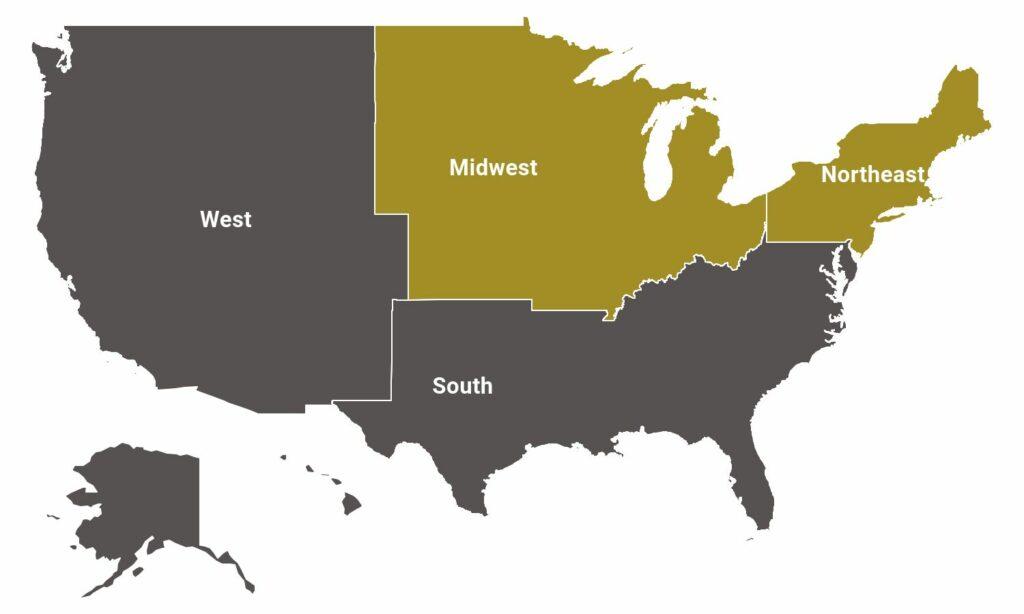 usa regions map