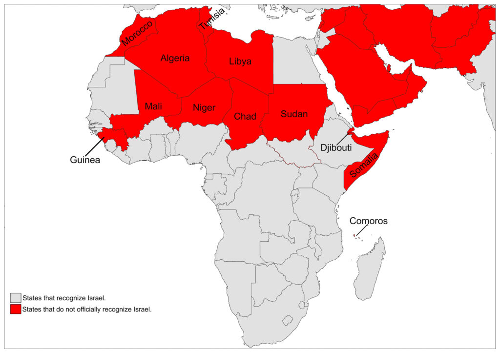 Map of Israel's Recognition by Africa