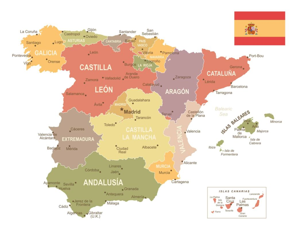 Spain Political States Map with Cities