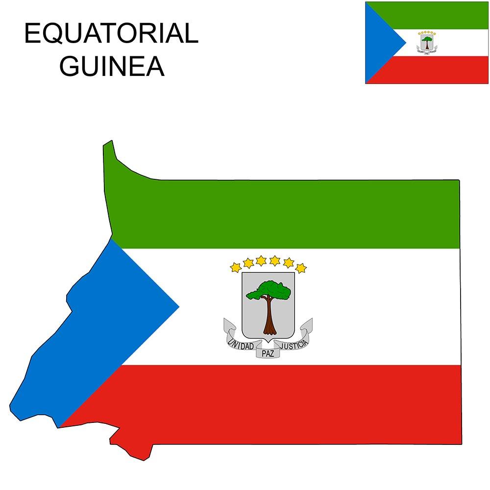 Equatorial Guinea Flag Map