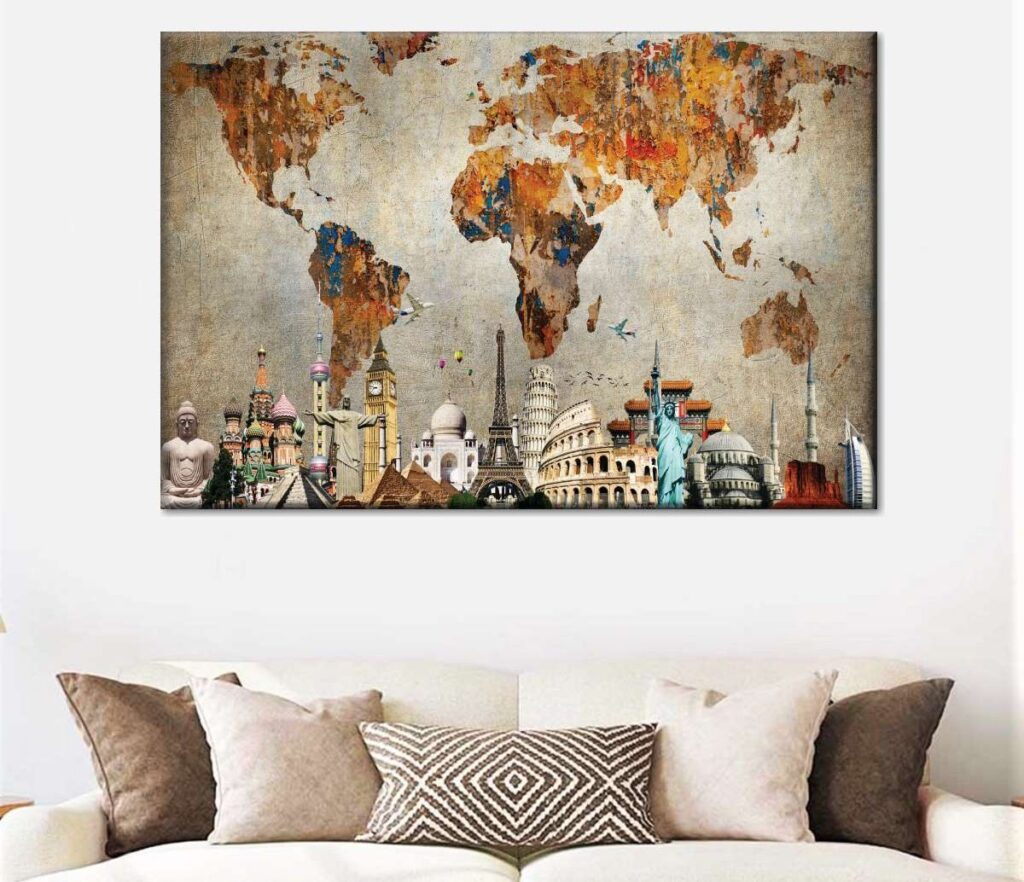 Best World Map Canvas (5 Top in 2021) 1