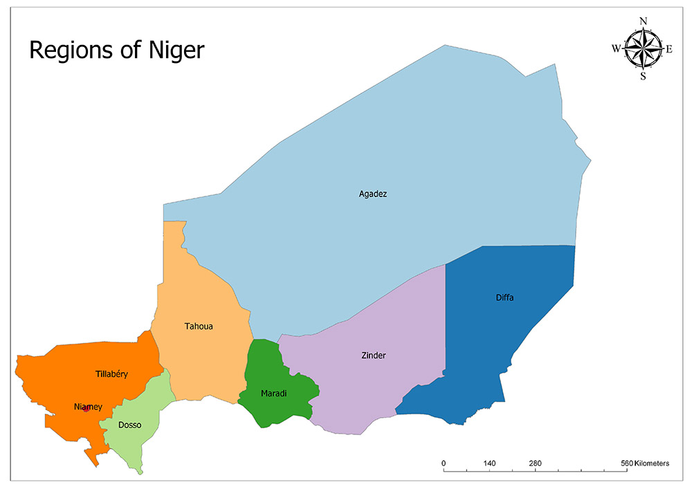 Regions of Niger Map