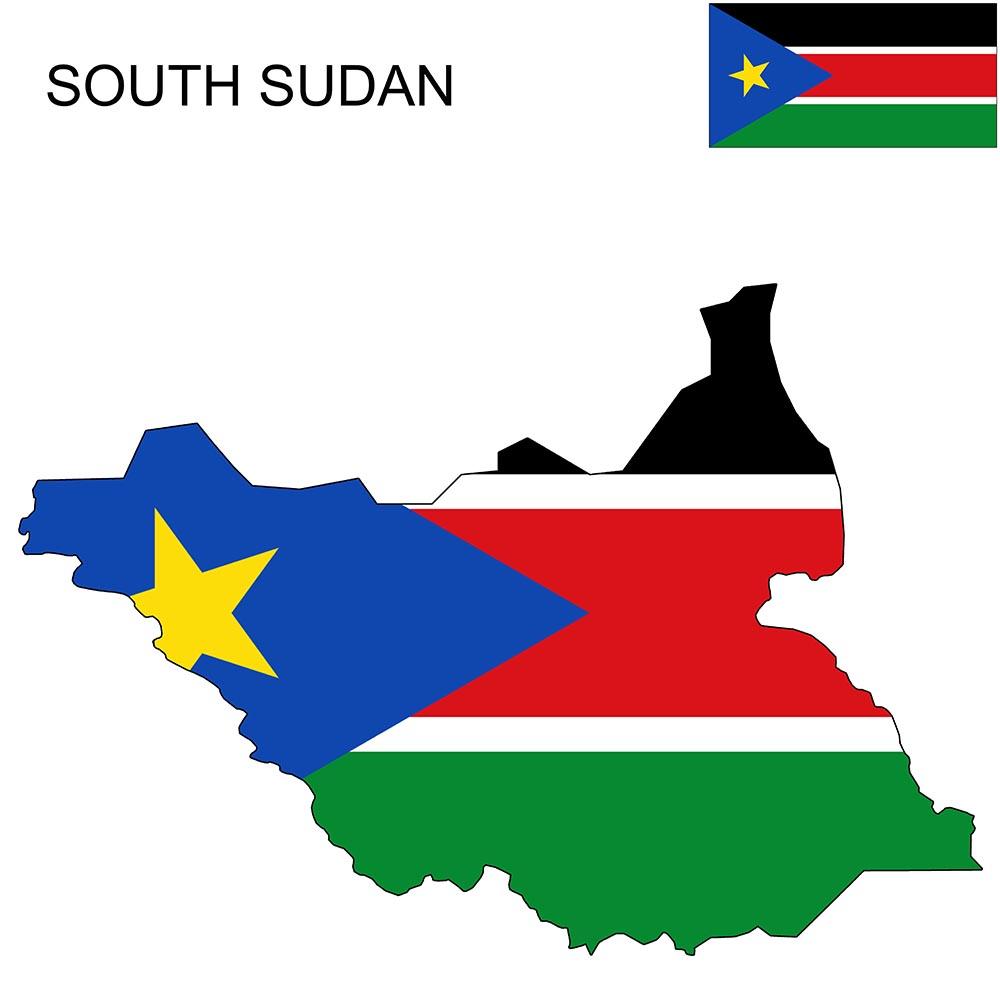 South Sudan Flag Map