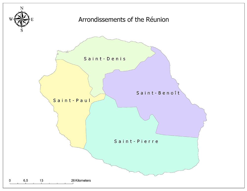 Arrondissements of the Réunion Map