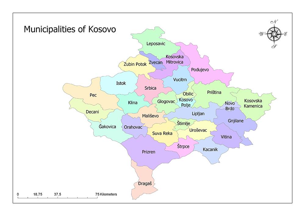Municipalities of Kosovo Map