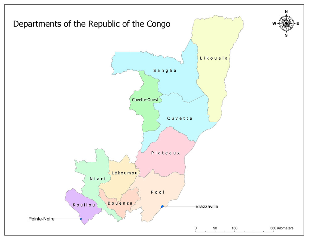 Departments of the Republic of the Congo