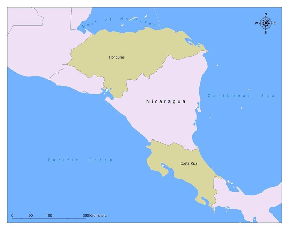 Nicaragua Neighbouring Countries
