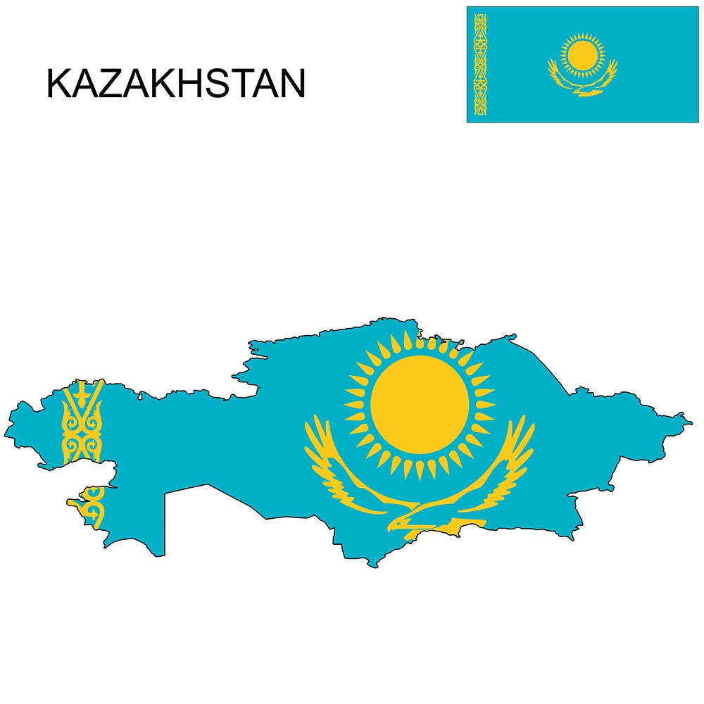 Kazakhstan Flag Map and Meaning 1