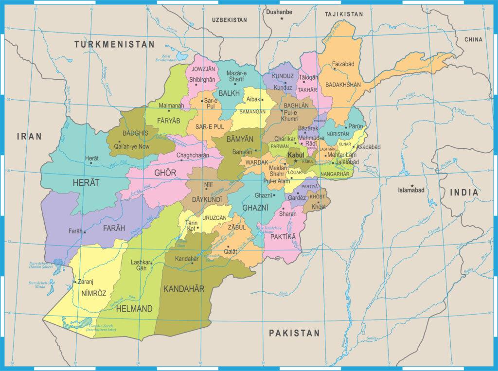 Afghanistan Provinces Map 1