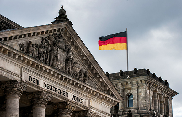 German Flag on the Reichstag in Berlin