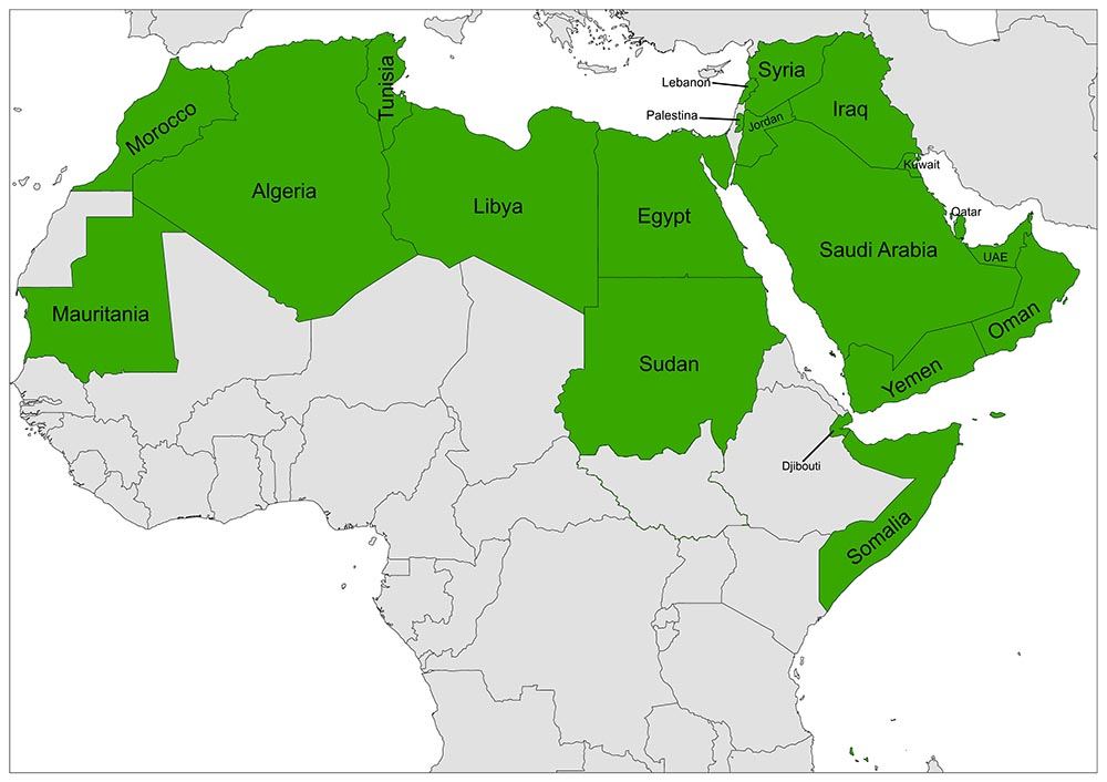 Detailed Arab League Members Map