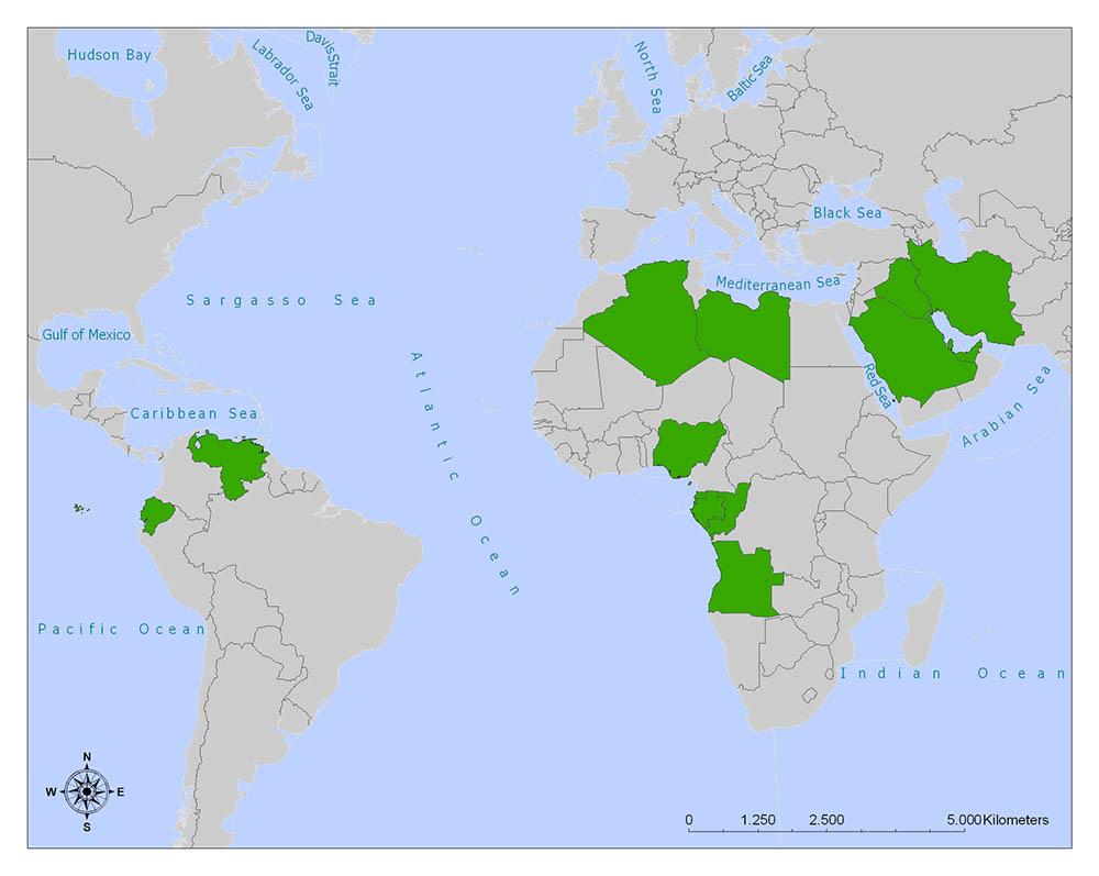 OPEC Map, OPEC Members