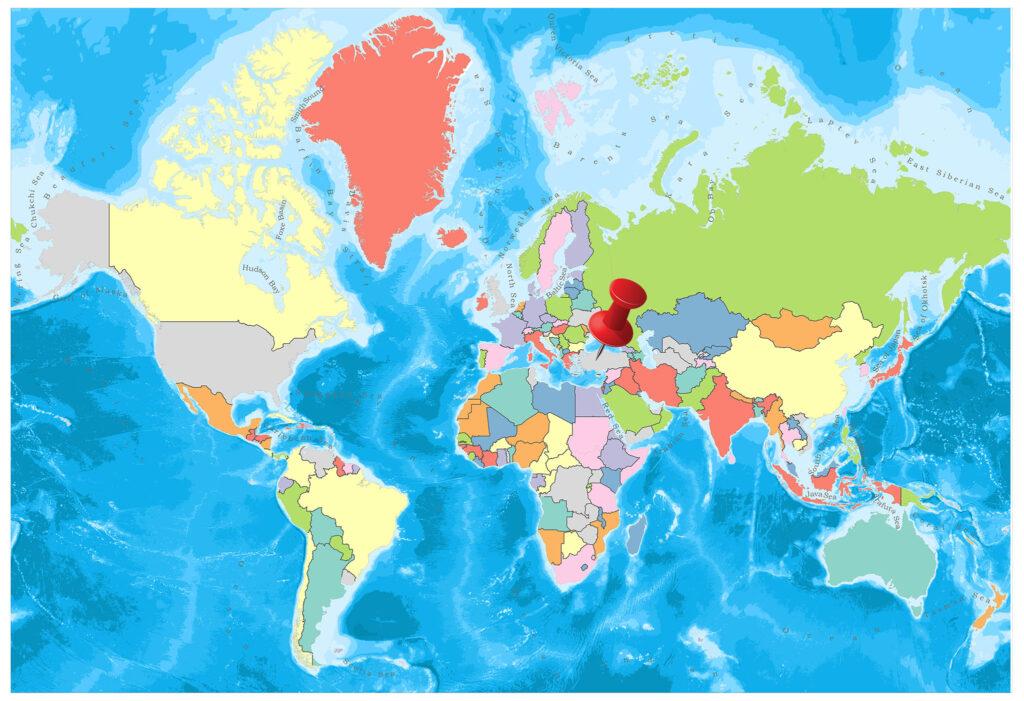 Turkey on the world map