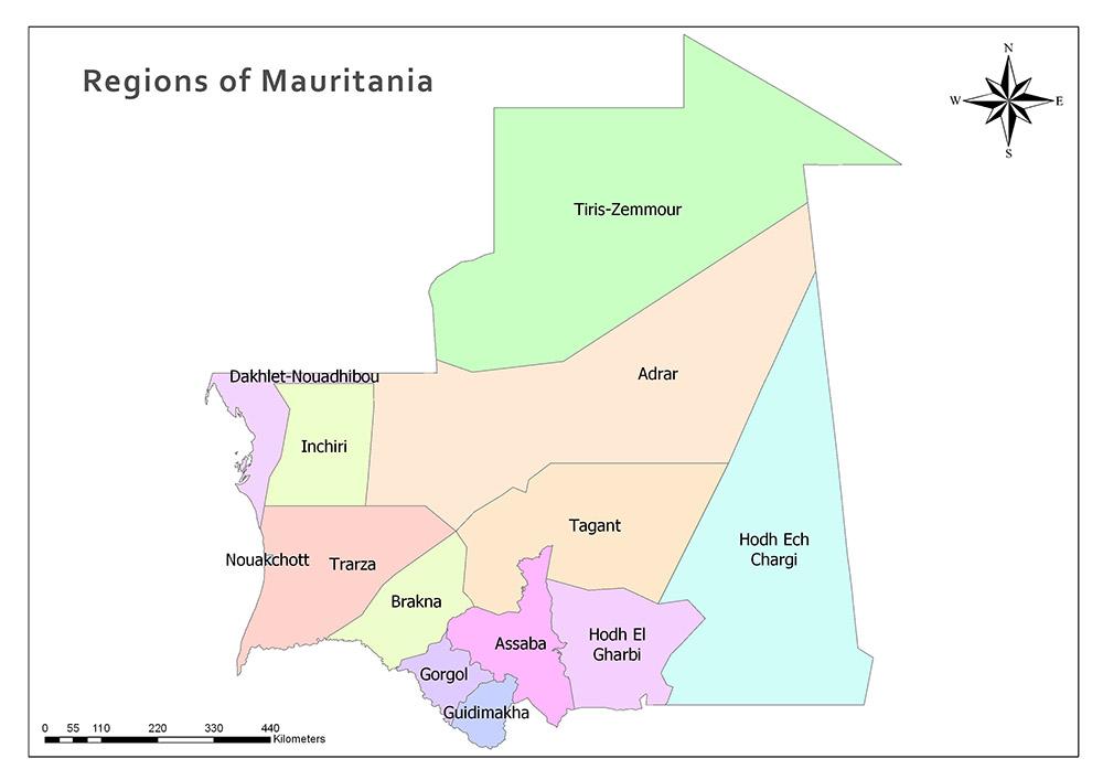 Regions of Mauritania Map