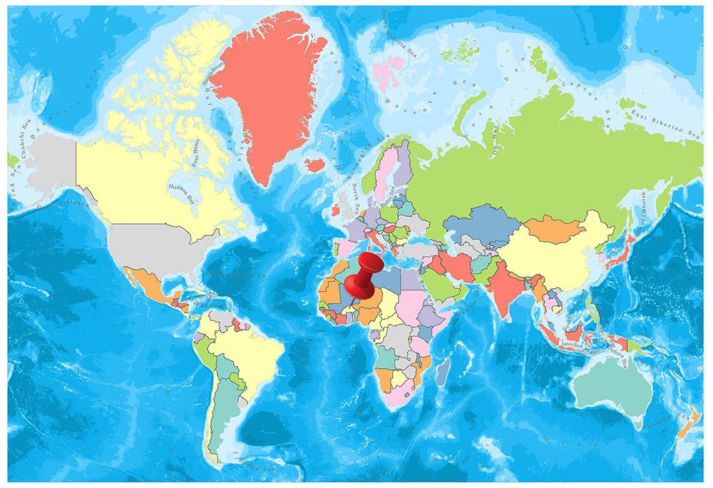Burkina Faso on the world map