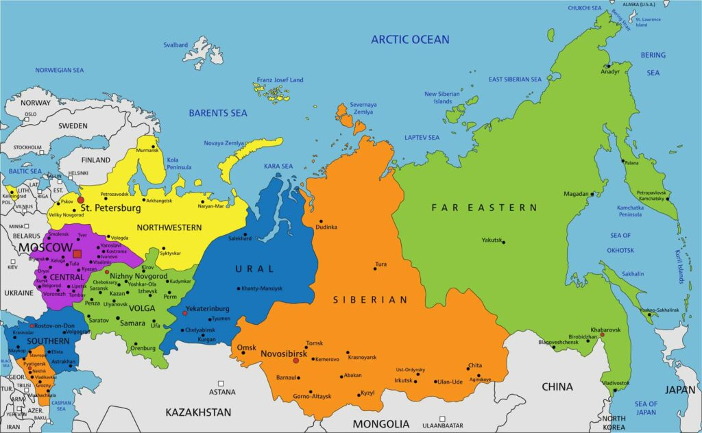Russia Political Map with Cities