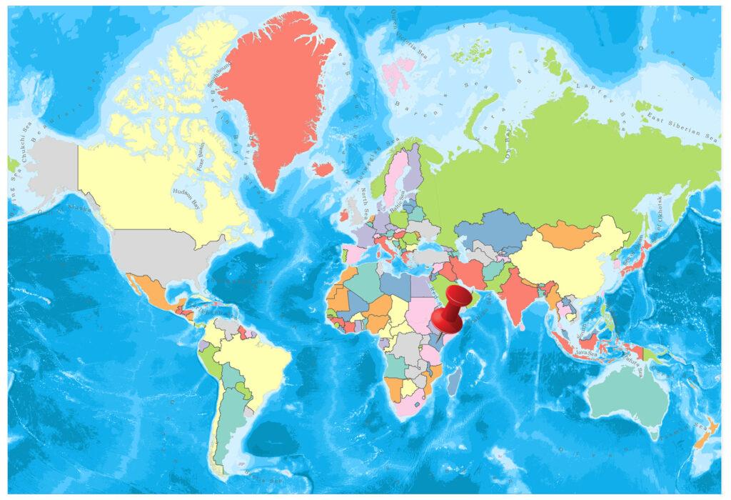 Kenya on the world map