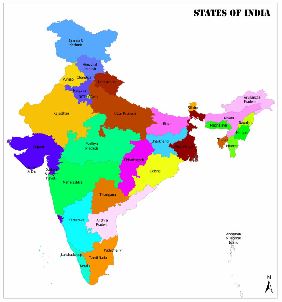 political states map of india colored