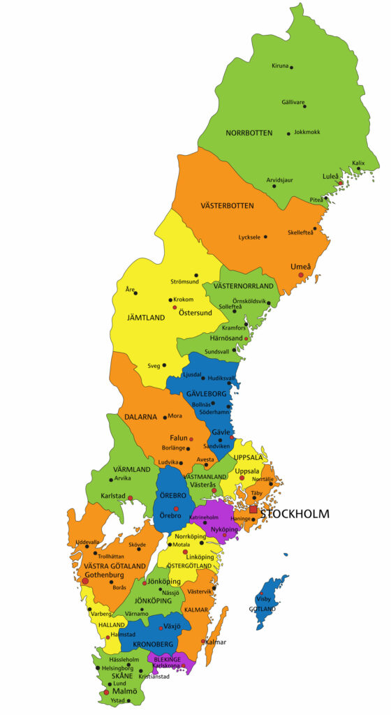 Colorful Sweden political map